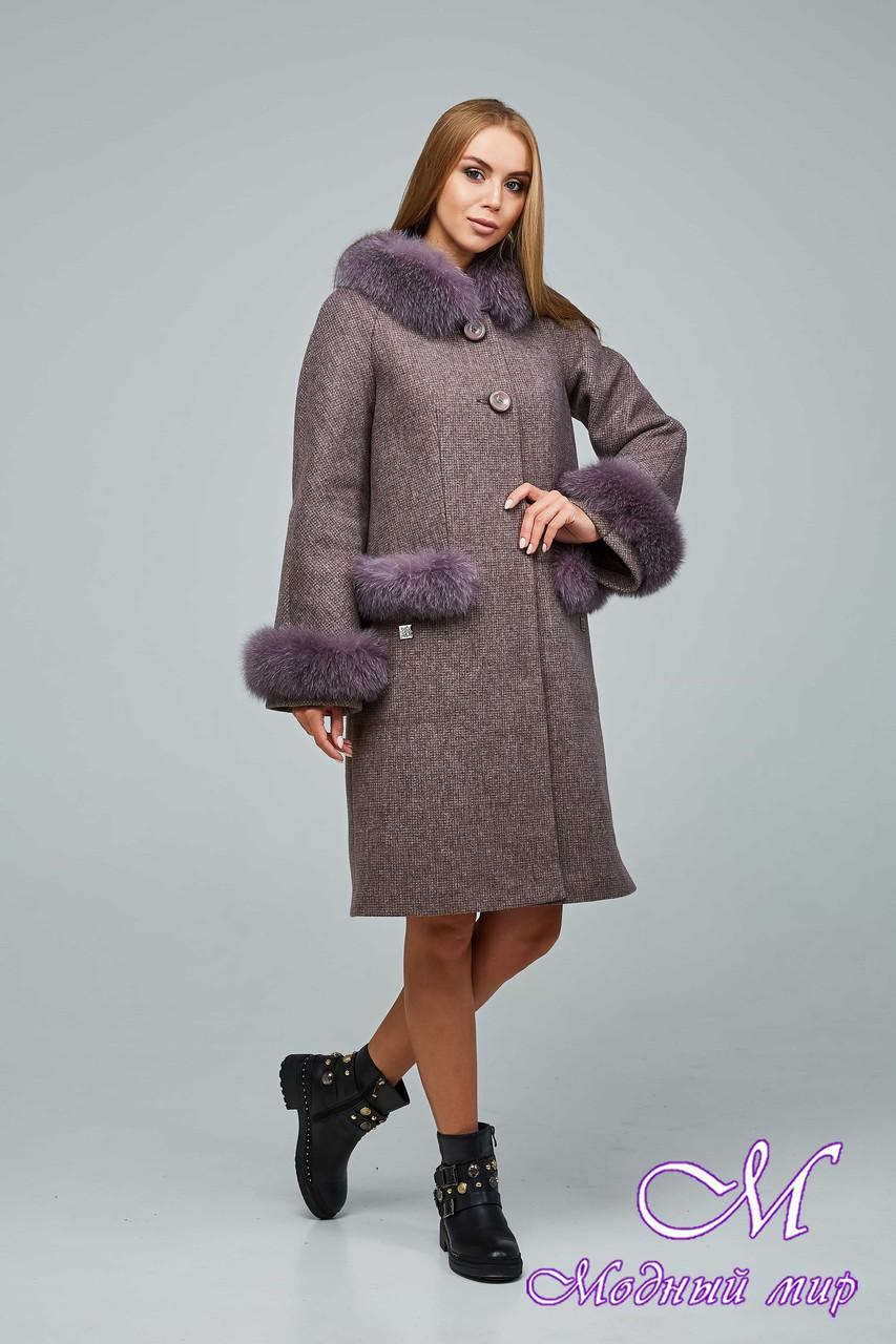 Женское элегантное зимнее пальто с большим мехом (р. 44-54) арт. 1205 Тон 3