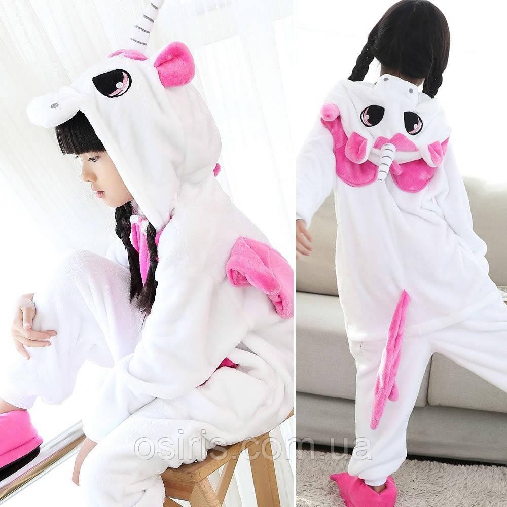 Пижама Кигуруми Единорог детский розовые крылья микрофибра / детские кигуруми Размер 100 110 120 130 140