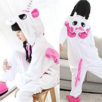 Пижама Кигуруми Единорог детский розовые крылья микрофибра / детские кигуруми Размер 100 110 120 130 140, фото 1