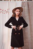 Классическое демисезонное пальто черного цвета Монте 7947, фото 1
