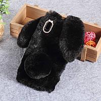 Силиконовый 3D чехол Fur Case на Huawei P Smart Plus, Bunny, Черный