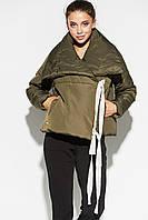 Короткая зимняя женская куртка на запах хаки, фото 1