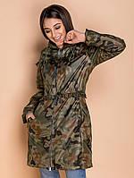 Женская куртка-парка утепленная флисом,хаки S M L, фото 1