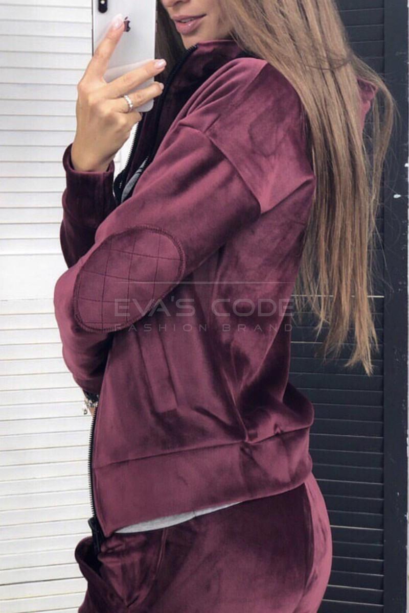 Бархатный костюм (брюки и кофта, бордо, ткань - королевский бархат) Размер S, M, L (розница и опт)