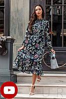 Летнее платье-миди из шифона цветочный принт синий