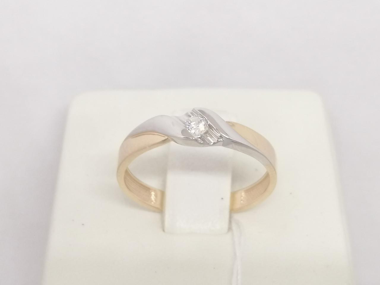 Золотое кольцо с фианитом. Артикул 141057 17,5
