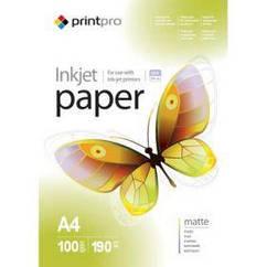 Фотобумага PrintPro матовая 190g/m2, A4, 100л (PME190100A4)