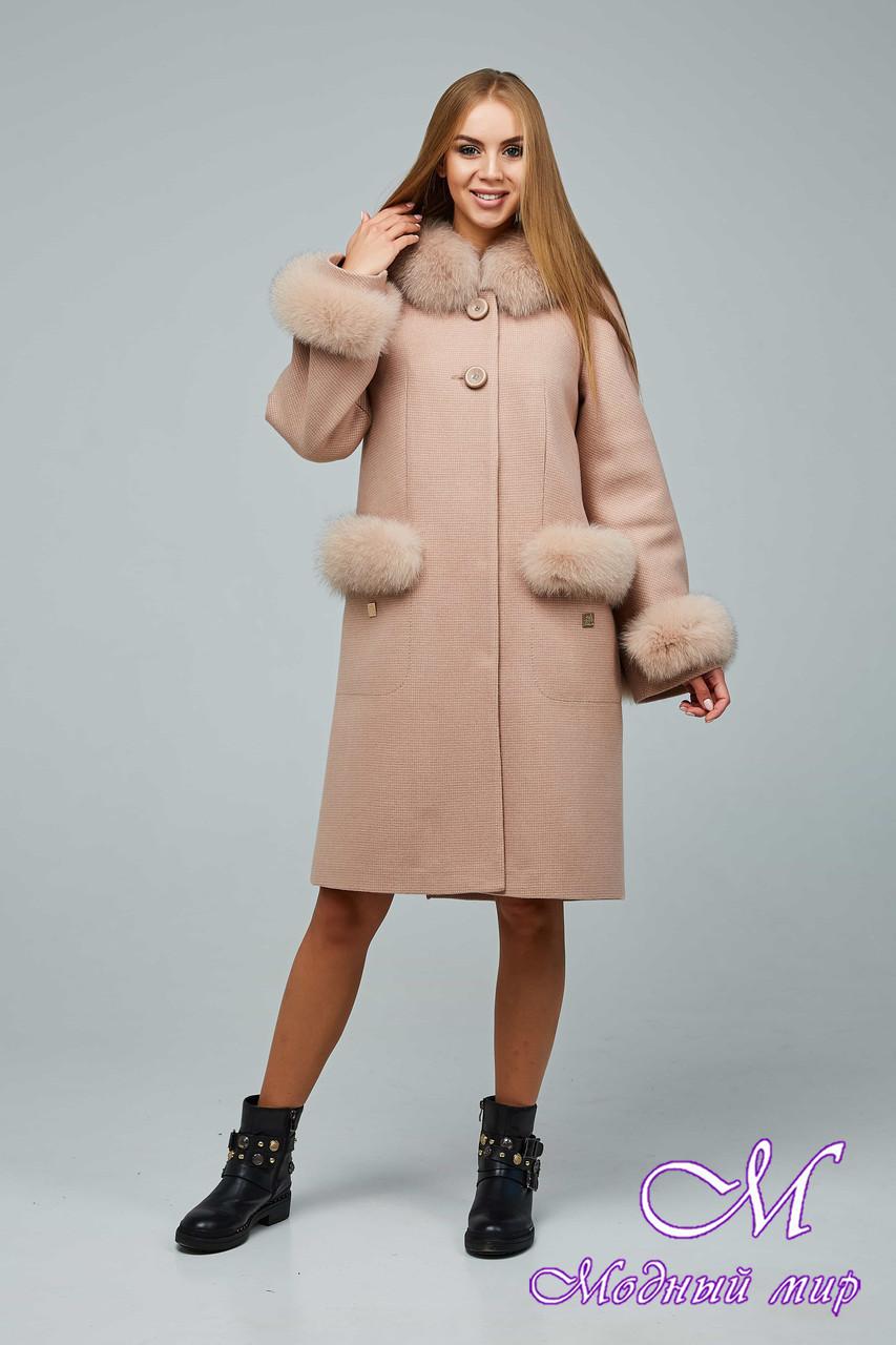 Женское стильное зимнее пальто с большим мехом (р. 44-54) арт. 1205 Тон 10
