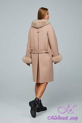 Женское стильное зимнее пальто с большим мехом (р. 44-54) арт. 1205 Тон 10, фото 2