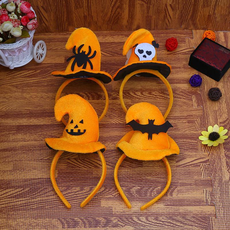"""Обруч """"Капелюшок"""", помаранчевий павук, Хелловін, Ободок """"Шляпка"""""""