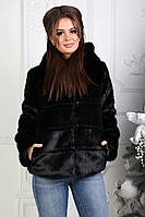 Шуба - автоледи женская из искусственного эко-меха норка с капюшоном. Чёрная