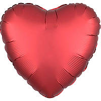 """Шарик с гелием фольгированный 18"""" (46см)  Сердце Сатин Красный"""