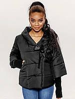 Женская черная куртка, теплая,дутая + перчатки, фото 1