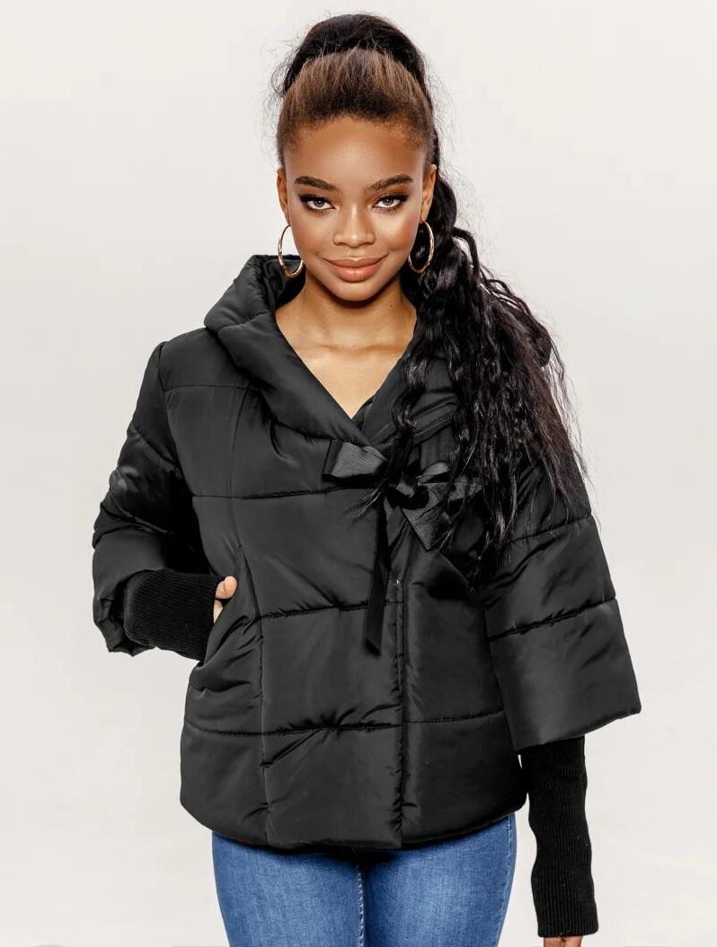 Женская черная куртка, теплая,дутая + перчатки