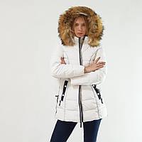 Зимний пуховик женский Snowimage с капюшоном и натуральным мехом белый, длинный, скидки