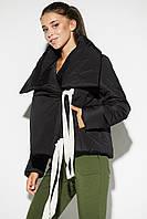 Черная короткая зимняя женская куртка с широким воротником, фото 1