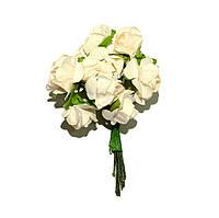 Цветы бумажные, розы, 1.5 см, КРЕМОВЫЕ, 12 шт