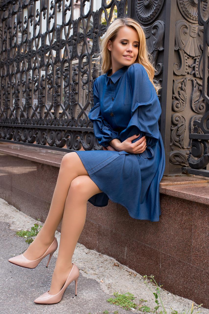 Повседневное коттоновое платье с длинными рукавами  (джинс, S, M, L, XL, MO-43761)