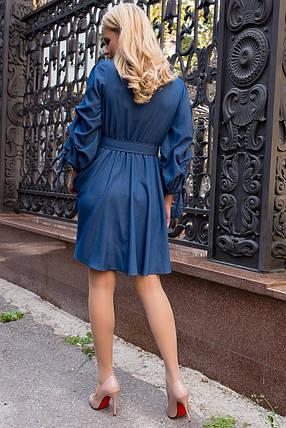 Повседневное коттоновое платье с длинными рукавами  (джинс, S, M, L, XL, MO-43761), фото 2