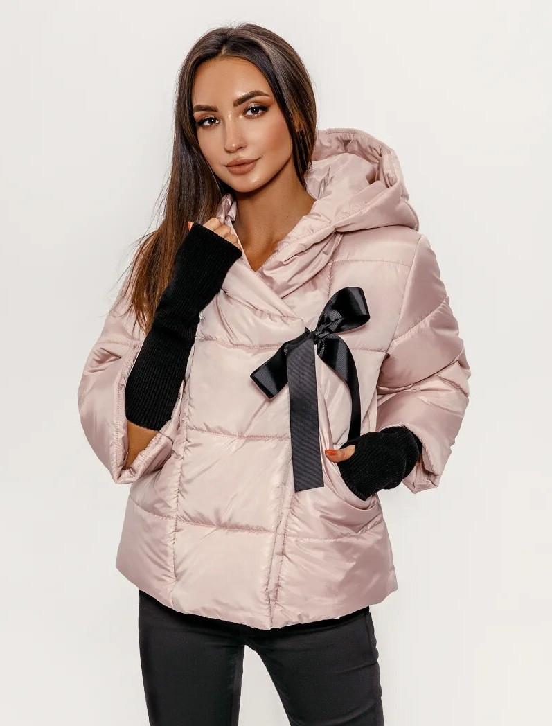 Женская куртка, теплая,дутая + перчатки,цвет пудра