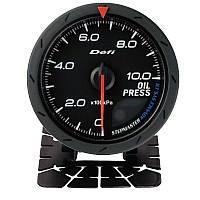 Прибор указатель давления масла (манометр) стрелочный DEFI 60254 +FQT/CK черный в корпусе Ø60мм датчик