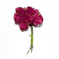 Цветы бумажные, розы, 1.5 см, БОРДОВЫЕ, 12 шт
