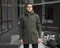 Мужская куртка Pobedov на весну осень качественная стильная с капюшоном и воротником-стойкой, цвета хаки
