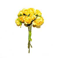 Цветы бумажные, розы, 1.5 см, ЖЕЛТЫЕ, 12 шт