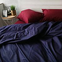 Постельное белье двуспальное поплин PF011 тёмно-синий/бордо Хлопковые традиции