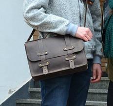 """Портфель кожаный мужской на клапанах и кобурных винтах """"Folio"""""""