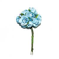 Цветы бумажные, розы, 1.5 см, ТЕМНО-ГОЛУБЫЕ, 12 шт