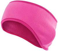 Теплая спортивная повязка на голову Vegard из флиса розовая