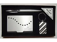 MTC-51 Подарочный набор MOONGRASS: ручка + брелок + визитница, Стильный деловой подарок, Набор на подарок