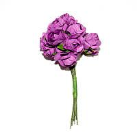 Цветы бумажные, розы, 1.5 см, СИРЕНЕВЫЕ, 12 шт