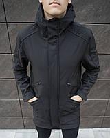 Черная мужская куртка Pobedov качественная демисезонная водоотталкивающая с капюшоном