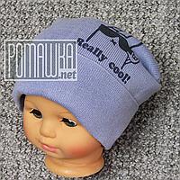 Вязаная однослойная р 48-52 1-2 года осень весна шапочка детская для мальчика осенняя весенняя 4948 Голубо 48