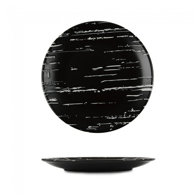"Тарелка круглая фарфоровая мелкая 185мм. ""Темный камень"""