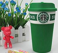 Чашка керамическая кружка Starbucks Brown Старбакс c термоизоляцией, фото 1