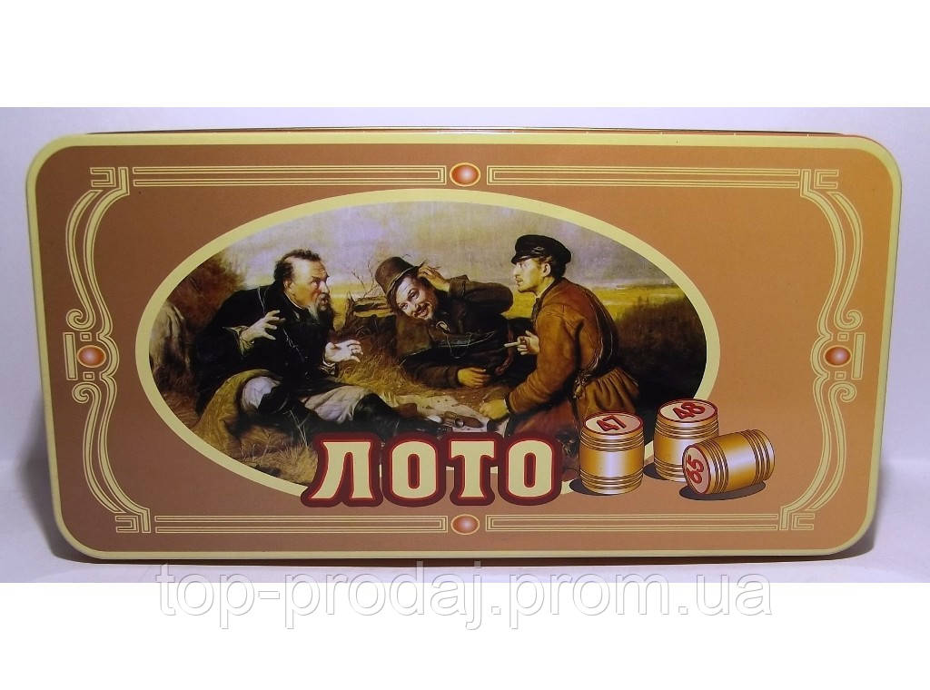 Лото в метал. коробке с деревянными бочонками I4-7, лото бочонки, игра лото, лото игра настольная