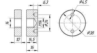 ODF-06-22-01-L10 Коннектор прижимной монтажный для стоек с боковым креплением d38 M14