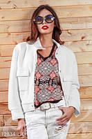 Женский стильный укороченный пиджак на кнопках с карманами неопрен