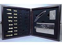 I6-38 Подарочный набор c флягой, Набор в деревянном сундучке: шахматы + фляга + зажигалка + нож/штопор (Боль