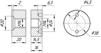 ODF-06-22-01-L20 Коннектор прижимной монтажный для стоек с боковым креплением d38 M14