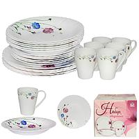 Набор посуды обеденный 24 предмета Весенние цветы, стеклокерамика 450-110-24