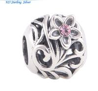 "Шарм на браслет с цветком ""ажур"" серебро 925"