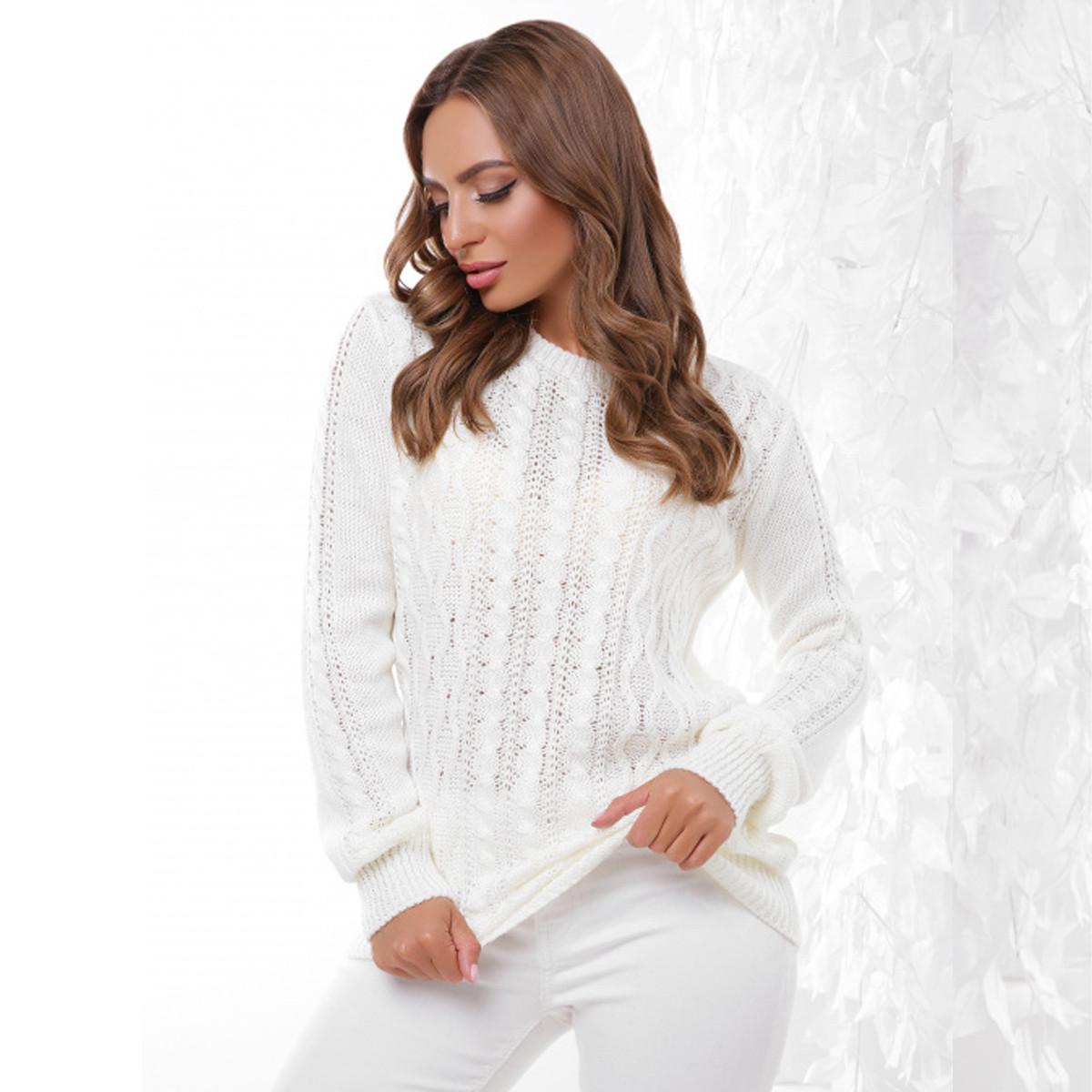 "Молочный женский свитер вязаный ""Бланка"""