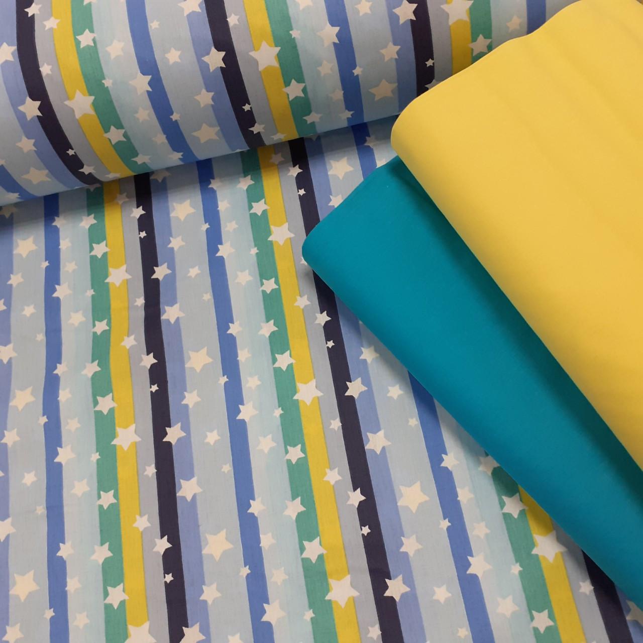 Хлопковая ткань (ТУРЦИЯ шир. 2,4 м) белые звезды на желто-голубых и синих полосках