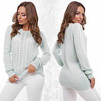 """Вязаный свитер однотонный мятный """"Бланка"""", фото 1"""