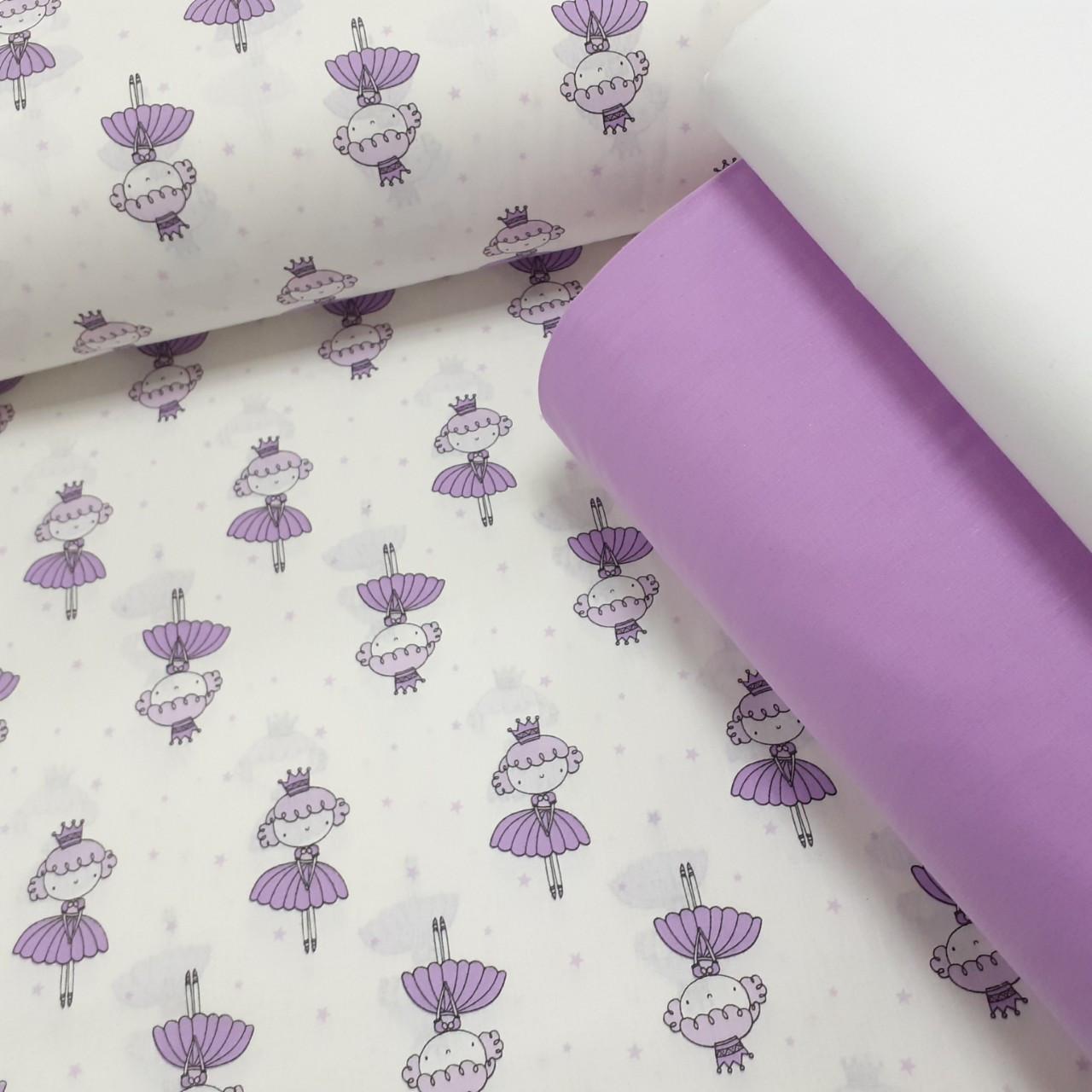 Хлопковая ткань (ТУРЦИЯ шир. 2,4 м) фиолетовые принцессы на белом
