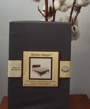 Простынь на резинке трикотажная Nostra 90х200 темно серая, фото 2